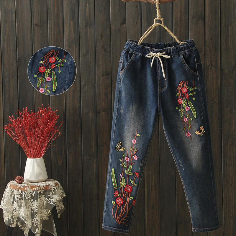 Spring New Arrival Arts Style Women Elastic Waist Loose Casual Jeans Flower Embroidery Vintage Jeans Cotton Denim Pants D540