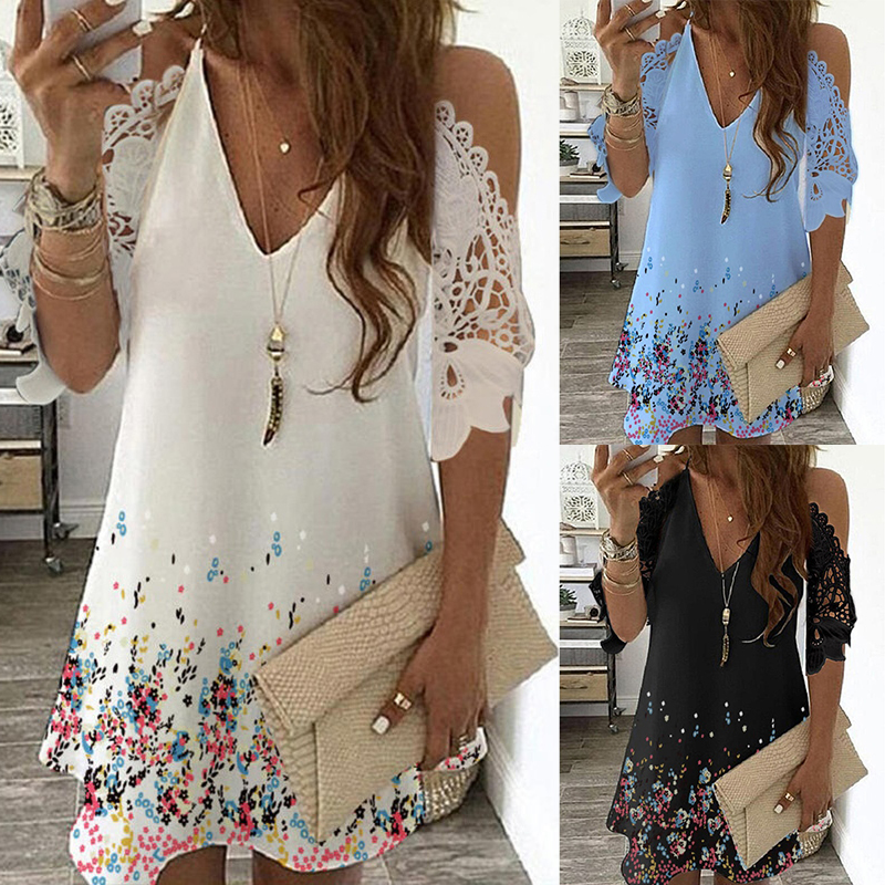Print Floral Vintage Dress Women Summer Casual V Neck Beach Sling Dress Off Shoulder Lace Party Dresses Plus Size Robe