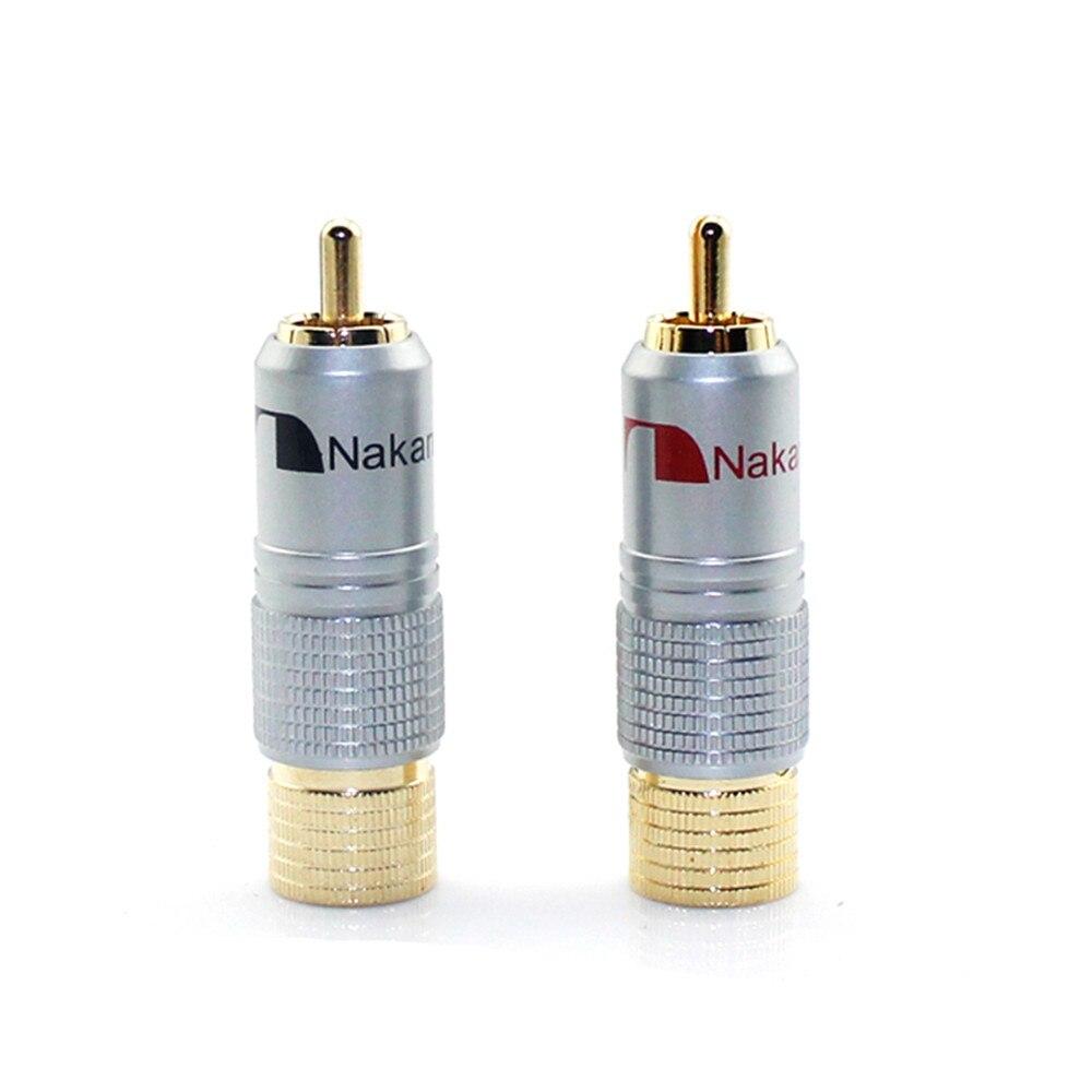 4pcs RCA Adapter 24K Gold Nakamichi RCA Plug Audio Cable Speaker Terminal Connector Male Lotus Adapter RCA Audio Connectors Hifi