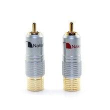 Nakamichi adaptador RCA dorado de 24K conector de Terminal de altavoz, Cable de Audio, conector macho, adaptador Lotus, conectores de Audio RCA Hifi, 4 Uds.