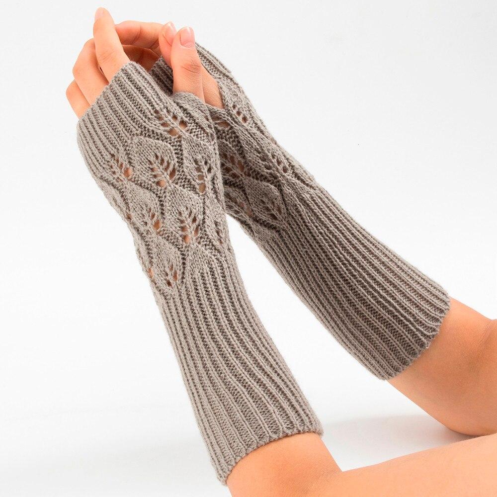 06# Women Winter Wrist Arm Warmer Solid Knitted Long Fingerless Gloves Mitten Hand Warmer Knitted Long Fingerless Gloves Mitten