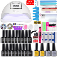 Nail Set Poly Gel Nail Set 80/48/36W Manicure Lamp Gel Polish Set Fast Building Nail Extensions Hard Jelly Gel Polygel Nail kit