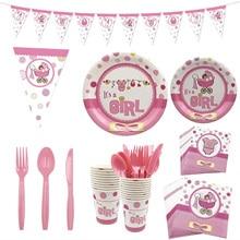 Одноразовые тарелки унисекс, салфетки для стаканчиков, ножи, вилка, столовый сервиз, мальчик или девочка, пол, тема, вечеринка, день рождения, декор для детского душа