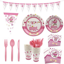 Unisex Disposable Plates Cups Napkins Knifes Fork Tableware Set Boy or Girl Gender Reveal Theme Party Birthday Baby Shower Decor