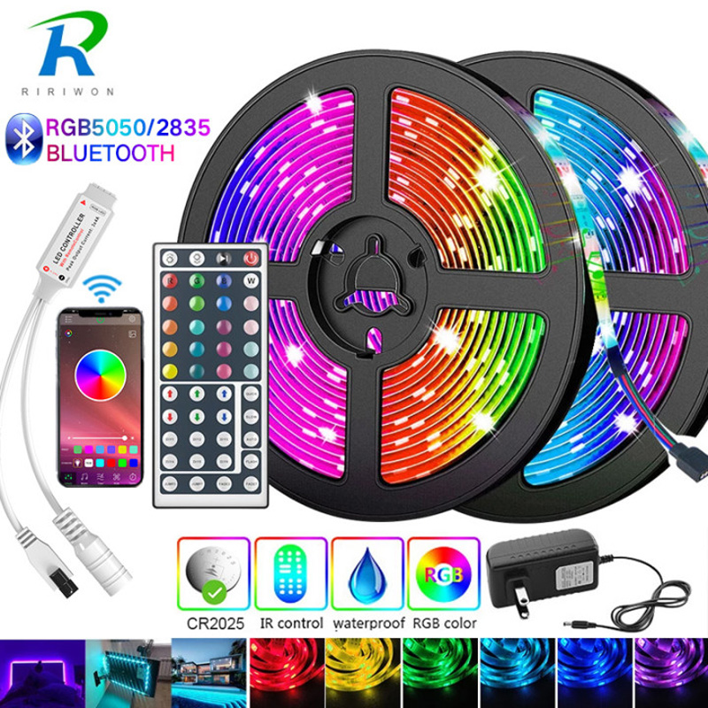 5M-30M Bluetooth LED Strip 5050 2835 IP20 RGB Strip LED Light Flexible Ribbon Stripe DC 12V RGB Diode Tape IR Controller Adapter