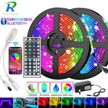 5M-30M taśma LED z Bluetooth 5050 2835 IP20 taśma oświetleniowa LED RGB elastyczna taśma z paskiem DC 12V taśma diodowa RGB IR Adapter do kontrolera tanie tanio RiRi won CN (pochodzenie) SALON 50000 Taśmy 2 88 w m Epistar RGB Strip 12 v Smd5050 LED Strip 5M Roll IR 44key Controller ) 5M 10M Full Set