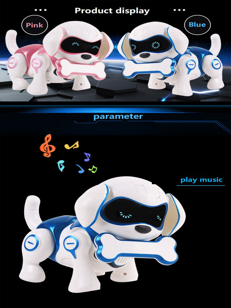 Music Toy Walking Robot Dog Toy LED Light Glow Electronic Pets Interactive Toys For Children Kids Baby Girl Boy Educational Toy