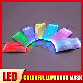The New Hot Sale Led Colorful Luminous Mask Stage Jump Di Usb Rechargeable Fiber Optic Fabric Luminous Adult Mask