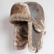 חורף כובעי מפציץ בציר הרוסי Ushanka כובעי גברים נשים פו פרווה הצייד כובע עור מפוצל רוח הוכחת Earflap טרופר כובעים
