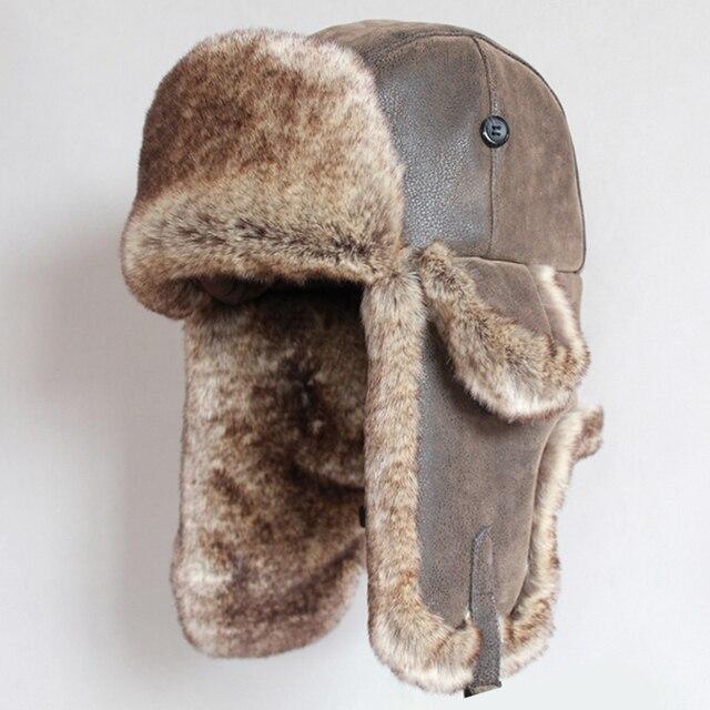 Winter Bomber Hoeden Vintage Russische Ushanka Caps Mannen Vrouwen Faux Fur Trapper Hoed Pu Leer Wind Proof Oorklep Trooper Hoeden