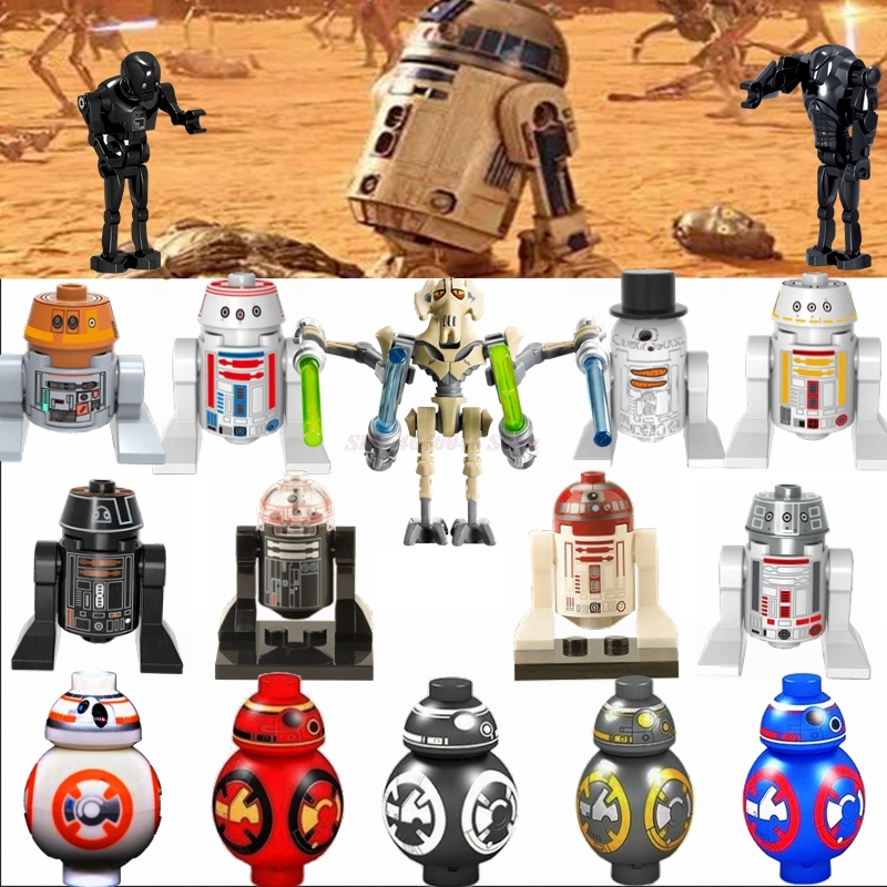 Star Plan Legoing Robot R2D2 BB8 K-2SO Super Battle Droid Anakin Skywalker Grievous Toys Building Block Legoings War Star Figure
