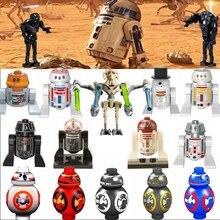 Звездный план Legoing Robot R2D2 BB8 K-2SO супер Боевой Дроид Анакин Скайуокер гривус игрушки строительный блок Legoings Звездная фигурка войны