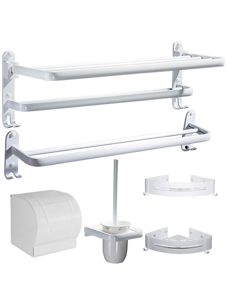 Towel Rack White Northern European-Style Punched Bathroom Storage Shelf Bath Towel Bathroom Put Clothes Hanging Rack Bathroom Sh