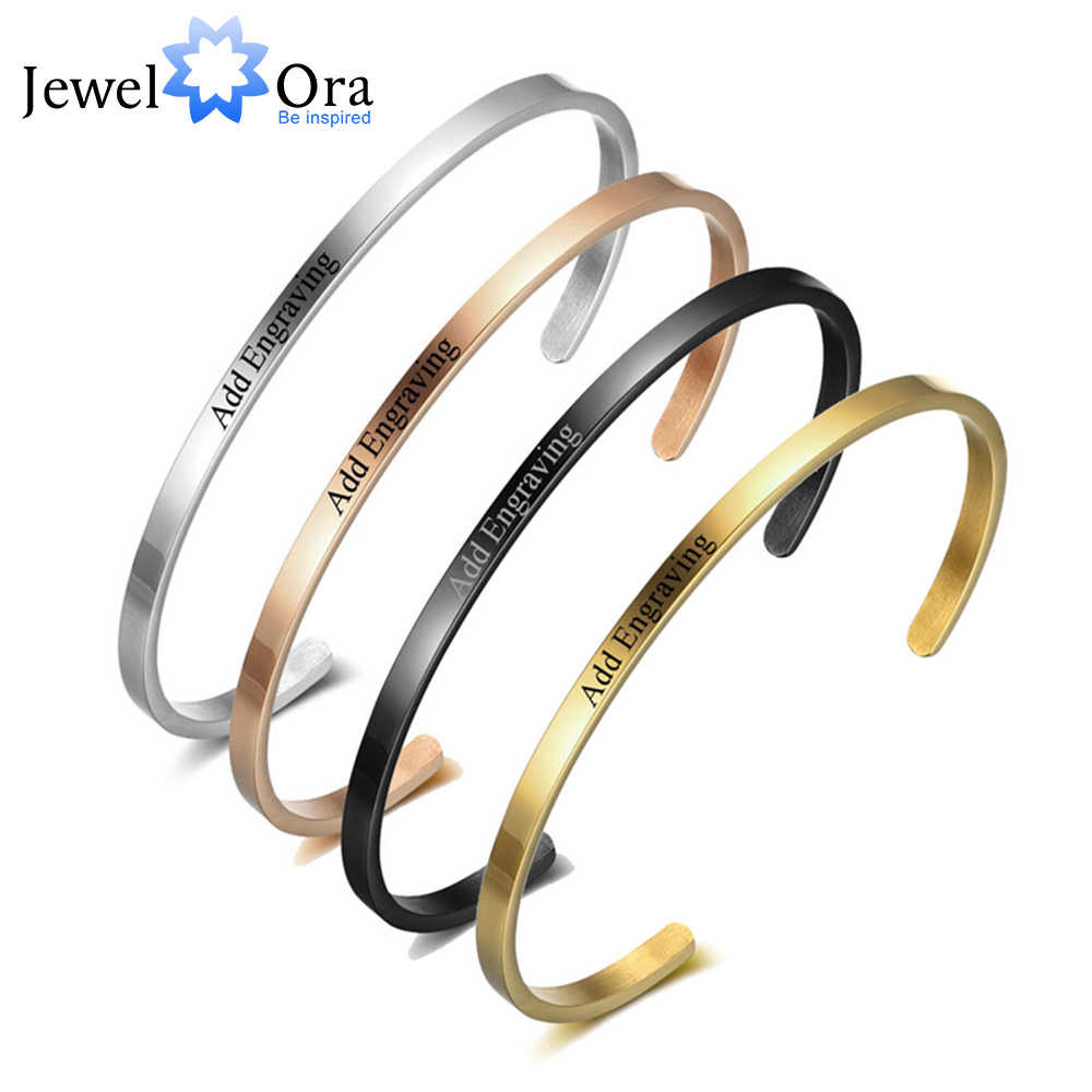 Personalized Gift Friendship Cuff Bracelets for Women Engrave Name Stainless Steel ID Bracelets & Bangles (JewelOra BA101918)