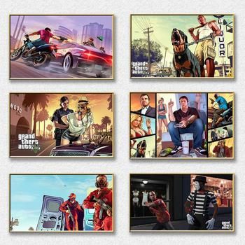 Hot Game Gta 5 Art Prints And Posters Gta V Canvas Painting Set Wall Pictures For Bedroom Game Room Decorative Picture Plakat недорого