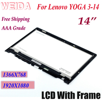 WEIDA LCD Replacment For lenovo YOGA3 14 LCD Display Touch Screen Assembly Frame Yoga 3 14 1920X1080 1366X768