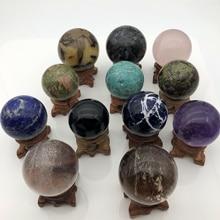 12 камней Сфера Набор целебная чакра Сфера стенд Рождество Wicca домашний декор Аметист с кварцевым тигровым глазом агатовый шарик кристаллы