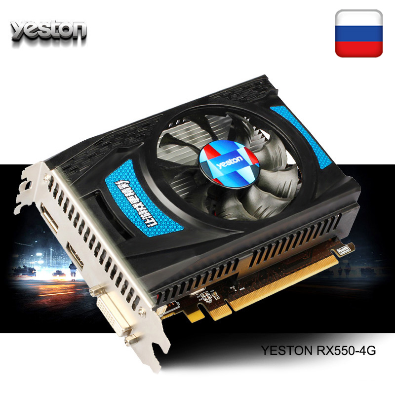 Yeston Radeon <font><b>RX</b></font> <font><b>550</b></font> GPU 4GB GDDR5 128bit Gaming Desktop computer PC Video Graphics Cards support DVI-D/HDMI/DP PCI-E 3.0 image