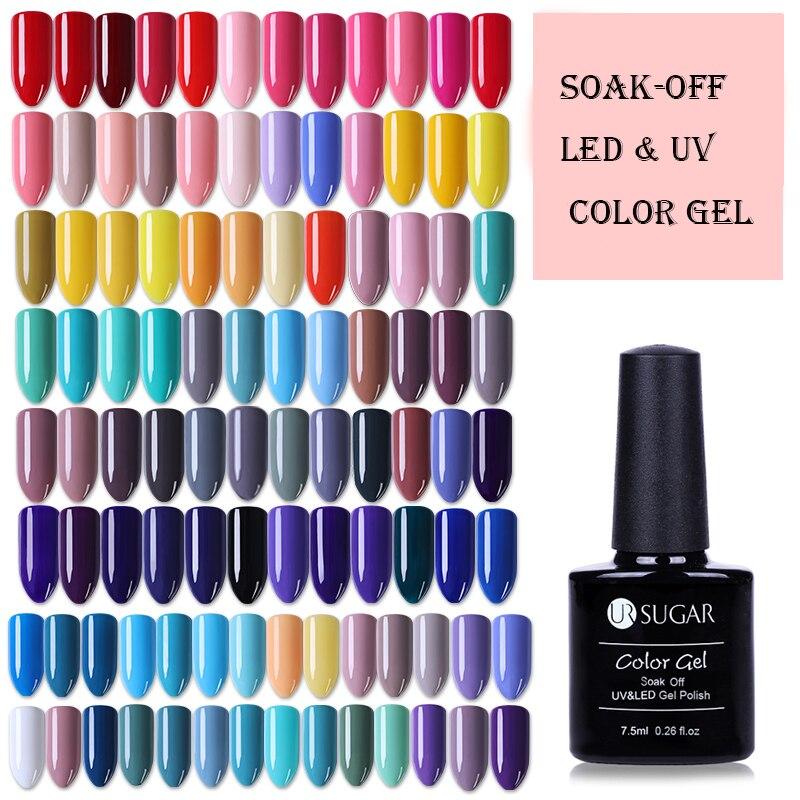 UR SUGAR Rose Glitter Gel Polish UV Black White Nail Art Lacquer Soak Off Varnish Base Coat No Wipe Top