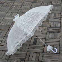 White Embroidered Lace Wedding Umbrella Handmade Party Dress Decoration Wedding White Bridal Lace Parasol Umbrella Prop handmade cotton lace parasol umbrella and hand fan party wedding decor