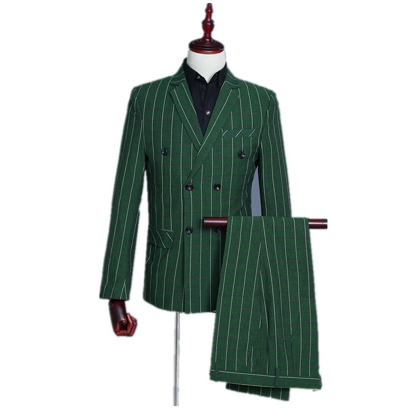 (Jacket+vest+pants)Plaid Men Slim Fit Elegant Suit Set Green Singer Host Wedding Party Dress Costume Male Sports Suit Blazer