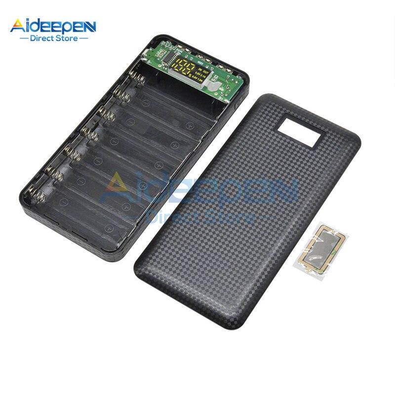 Caixa de Banco de Potência Carga da Bateria para Iphone Huawei com Lanterna Bateria Faça Você Mesmo Case 5 v 1a 2.1a Display Lcd Xiaomi Led 3 Usb 7×18650