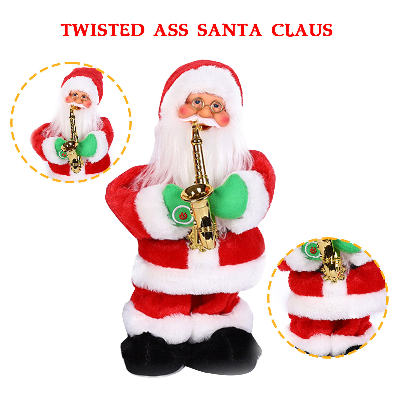 Electric Santa Claus Blowing Saxophone Doll Stage Drumming Music Santa Claus Creative Old Man Children Toy Christmas Gift Moderate Cost