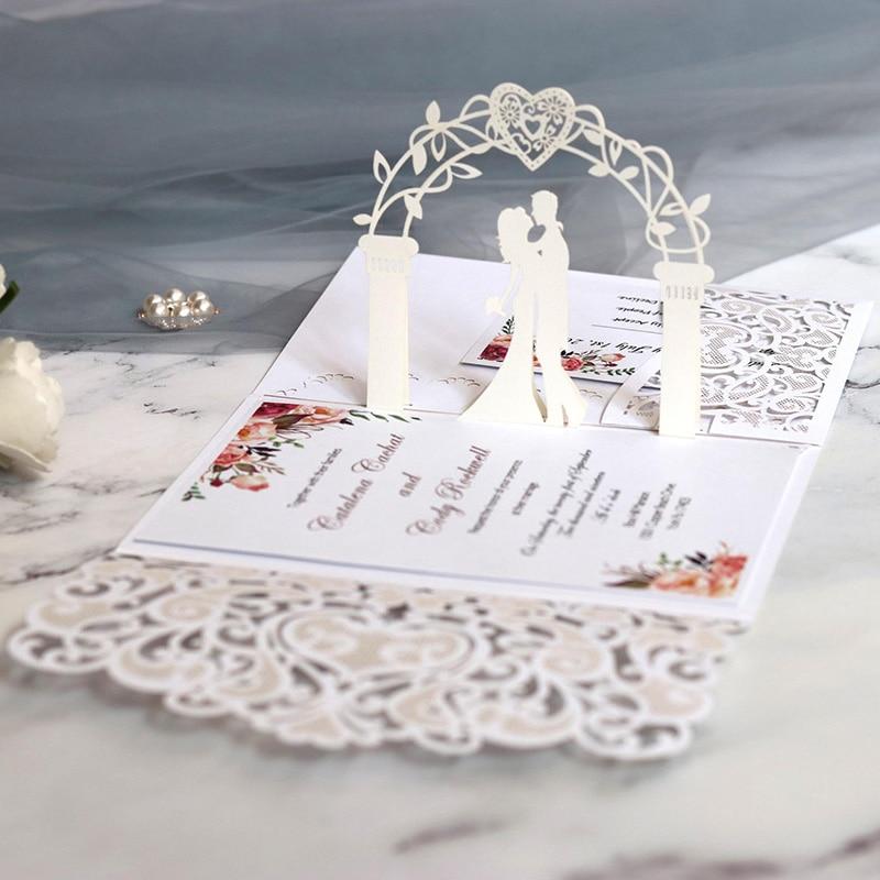 100pcs European Laser Cut Wedding Invitations Card 3D Tri-Fold Lace Heart Elegant Greeting Cards Wedding Party Favor Decoration