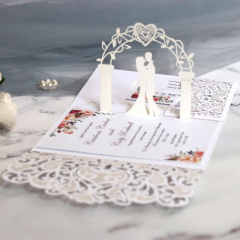 1 шт. образец Европейской лазерной резки свадебных приглашений, карта 3D трехкратного кружевного сердца, элегантные открытки, свадебное укра...