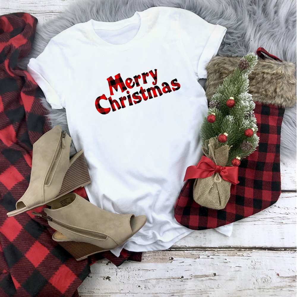 Plaid Merry Christmas T Shirt Women Fashion Graphic Cute Tee Kawaii TShirt Fashion Hipster Christmas Party Style Tumblr Shirt