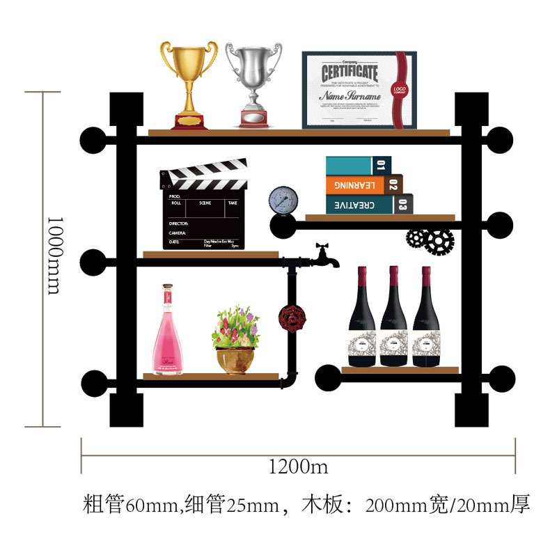 Retro Design Vintage Wine Rack Wooden Bar Kitchen Wine Storage Shelf Holder Made Of Iron Pipes,boards Cf