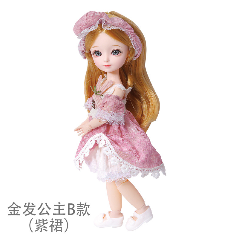 16cm/31cm Bjd Doll 12 Moveable Joints 1/12 Girls Dress 3D Eyes Toy with Clothes Shoes Kids Toys for Girls Children Birthday Gift 14