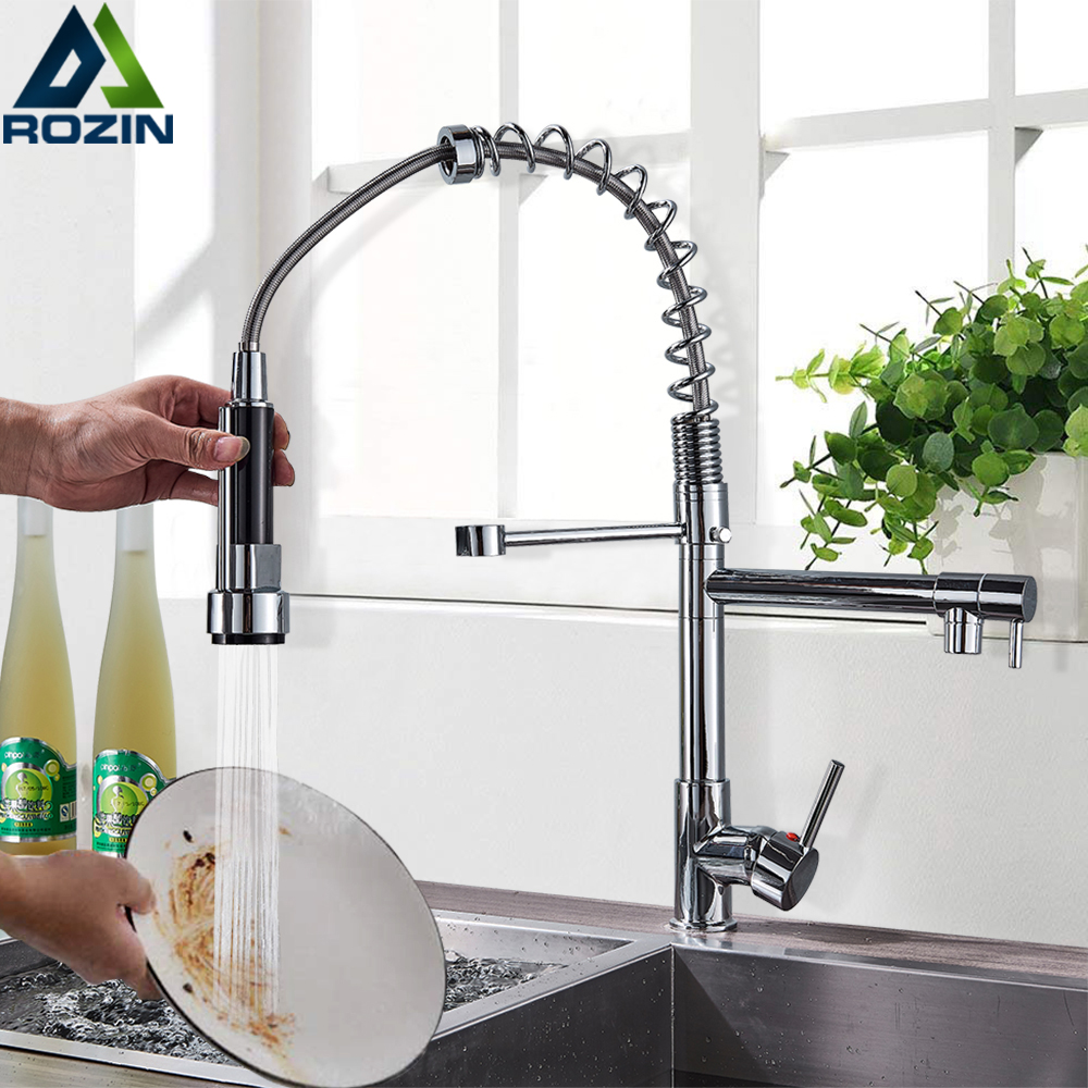 Chrome Spring Pull Down Kitchen Faucet Dual Spouts 360 Swivel Handheld Shower Kitchen Mixer Crane Hot  Cold 2 Outlet Spring Taps