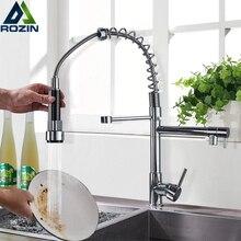 Rozin Chrome wiosna rozwijanego kuchnia kran podwójny wylot bicze wodne 360 obrotowy ręczny prysznic mikser kuchenny żuraw gorące zimne krany