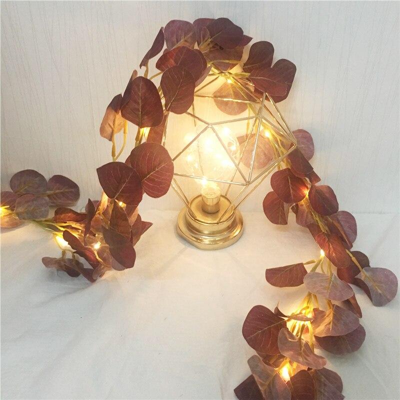 2M 20Led Silk Artificial Eucalyptus Leaf Fairy String Garland Plant Vine Fake Foliage Flower Home Decor Lighting Artificial Lamp