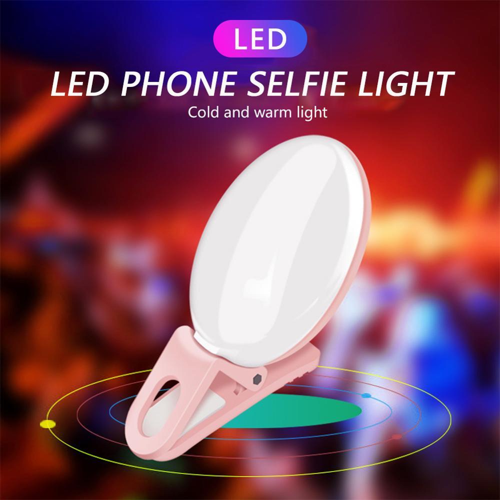 Portable Selfie Flash LED Clip-on Mobile Phone Selfie Light for Night Makeup Enhancing Fill Light Self-timer Lamp