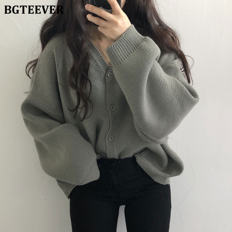 BGTEEVER All-match Chic V-neck Single-breasted Open Stitch Women Sweaters 2019 Autumn Winter Loose Solid Female Knitted Cardigan