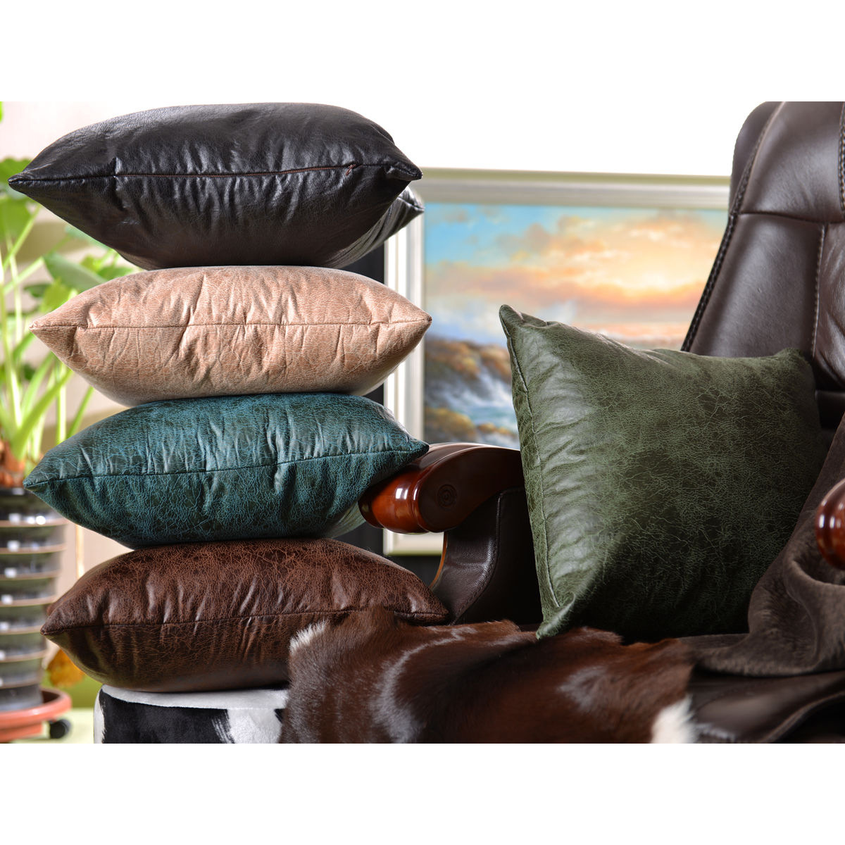 Faux PU Leather Cushion Cover Throw Pillow Case Sofa Bed Home Decor Retro Luxury
