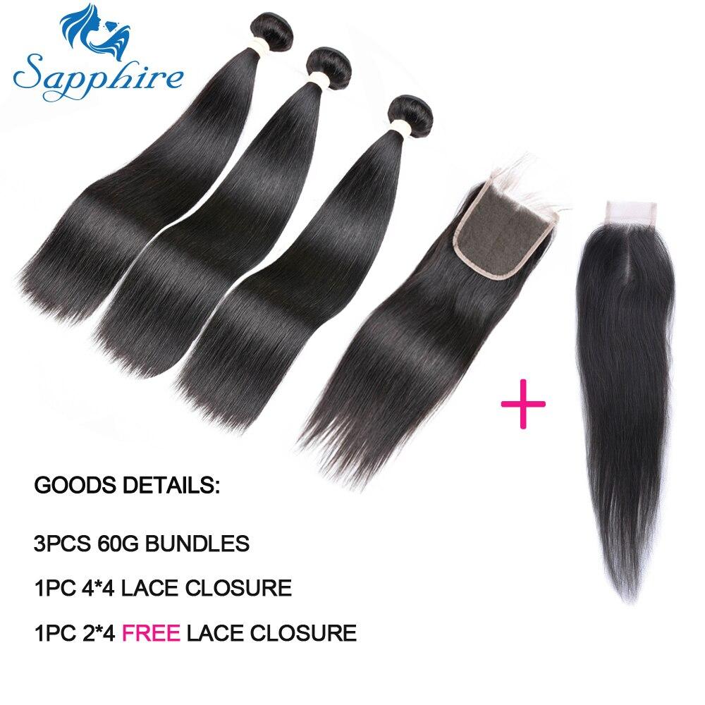 Sapphire 60g Malaysian Hair Bundles With Closure Straight Hair Bundles With Closure Natural Human Hair Bundles With Closure Remy
