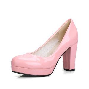 Image 5 - ZawsThia cheap stock clearance patent PU leather woman block high heels stiletto office lady pumps women shoes big size 41 43 44