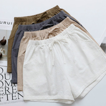 2020 New Hot Summer Casual Cotton Linen Shorts Women Plus Size High Waist Shorts Fashion Short Pants  Streetwear Women's Shorts 2