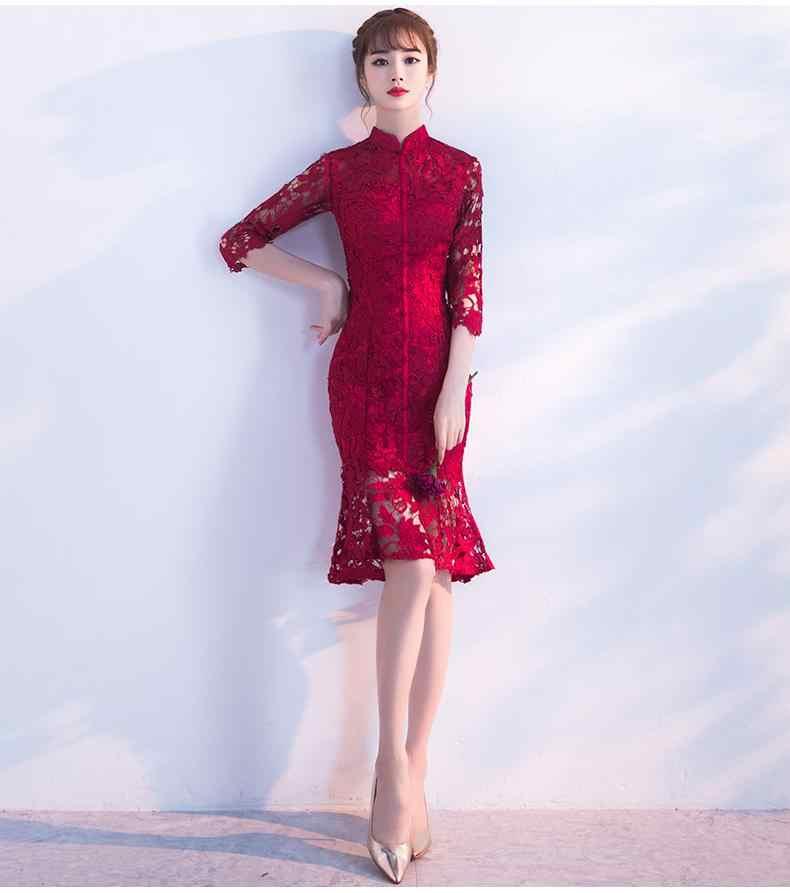 ערב מסיבת cheongsam qipao שמלת שמלות Qipao מסורתי סיני נשים חתונה שמלת Slim אדום תחרה חצי שרוול Cheongsam