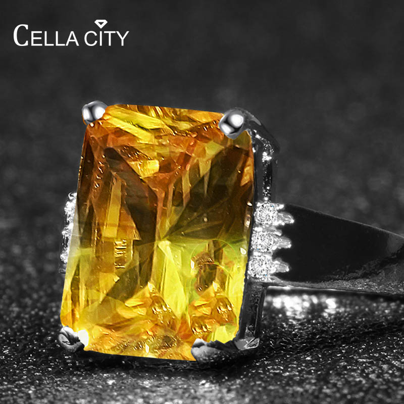 Cellacity Geometry Silver 925 Jewelry Ring for Women Rectangle Large Yellow Gemstones Female Banquet Party Accessory Size6-10