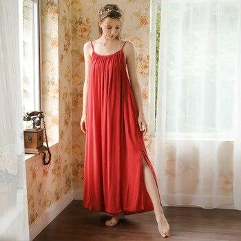 Roseheart Women Fashion Female Red Sexy Sleepwear Nightdress Long Spaghetti Strap Nightwear Sleepshirts Nightgown