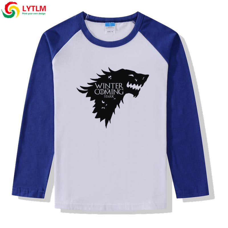LYTLM בית סטארק Tshirt משחק של הכס שרוול ארוך בני חולצות T תינוקת סתיו בגדי Camisetas בעלי החיים הדפסת ילדים חולצות