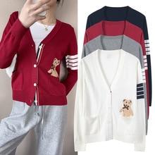 2020 fashion brand TB THOM sweaters men women v-neck striped wool cardigan winter autumn knitted coat pockets