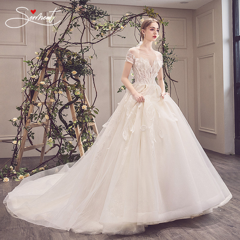 OLLYMURS Wedding Lace Halter Princess Bride Word Shoulder Luxury Imported Lace Trailing Wedding Dress Real Picture