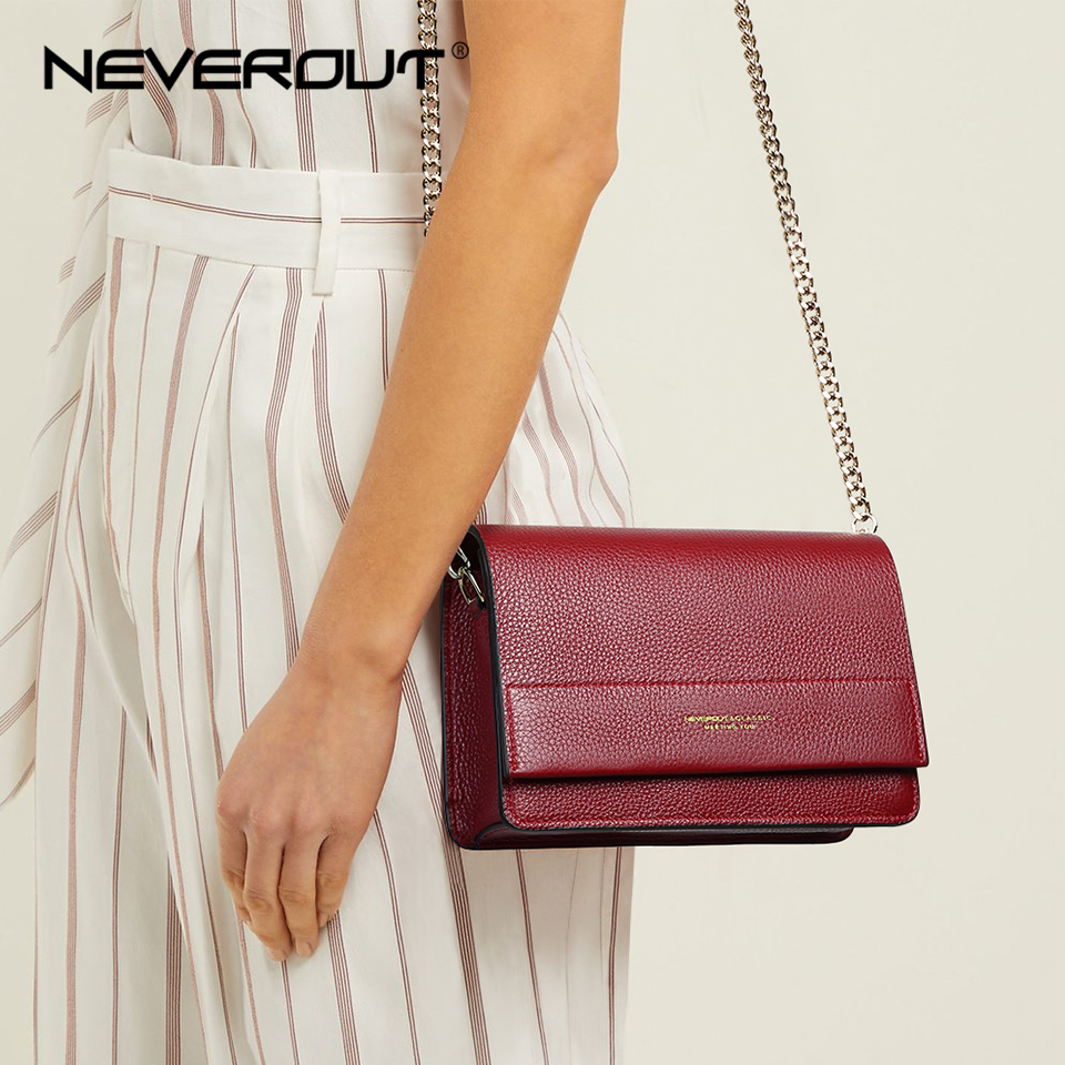 NEVEROUT Soft Genuine Leather Bag for Women Ladies Small Messenger Purse Solid Flap Shoulder Sac Chain