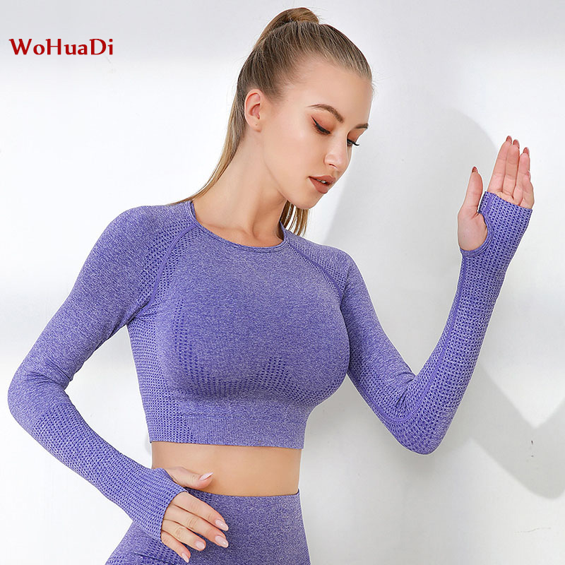 WOHUADI 2020 new yoga <font><b>crop</b></font> <font><b>top</b></font> long sleeve <font><b>fitness</b></font> clothes for women Seamless <font><b>fitness</b></font> Gym <font><b>Sexy</b></font> slim fit shirts for running image