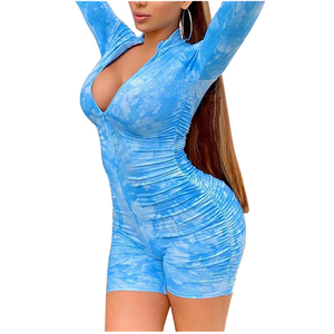 2020 Fashion Trend Women Ladies Long Sleeve Short Trousers Skinny Jampsuit Bodysuit Sexy Summer New Casual Lounge Wear Playsuit